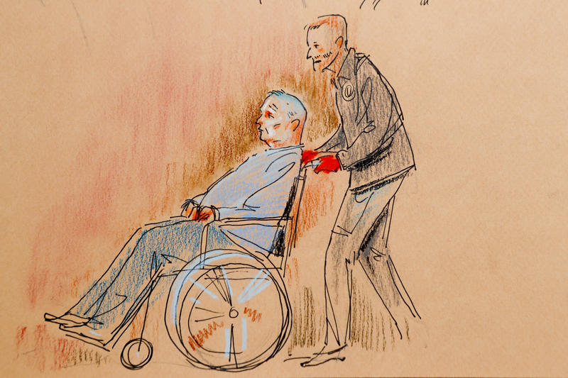 A courtroom sketch depicts Robert Bowers being brought into court via wheelchair on Monday, Oct. 29, 2018.