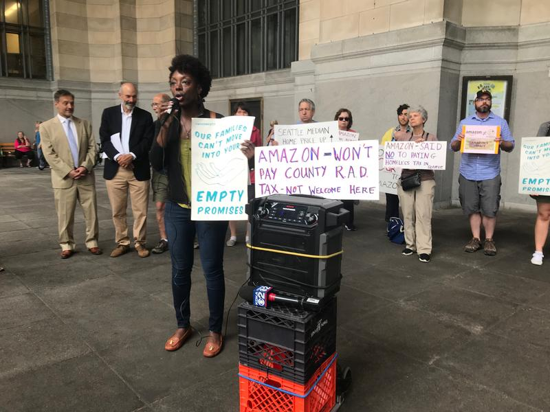 Protestors gathered outside Pittsburgh's City-County Building in June to demand the city release its Amazon proposal. Crystal Jennings addressed the crowd.
