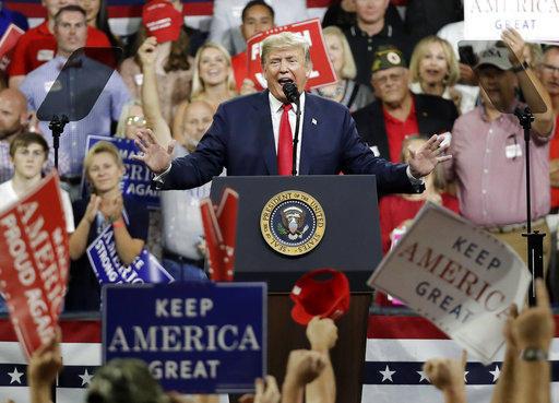 President Donald Trump speaks at a rally Monday, Oct. 1, 2018, in Johnson City, Tenn.