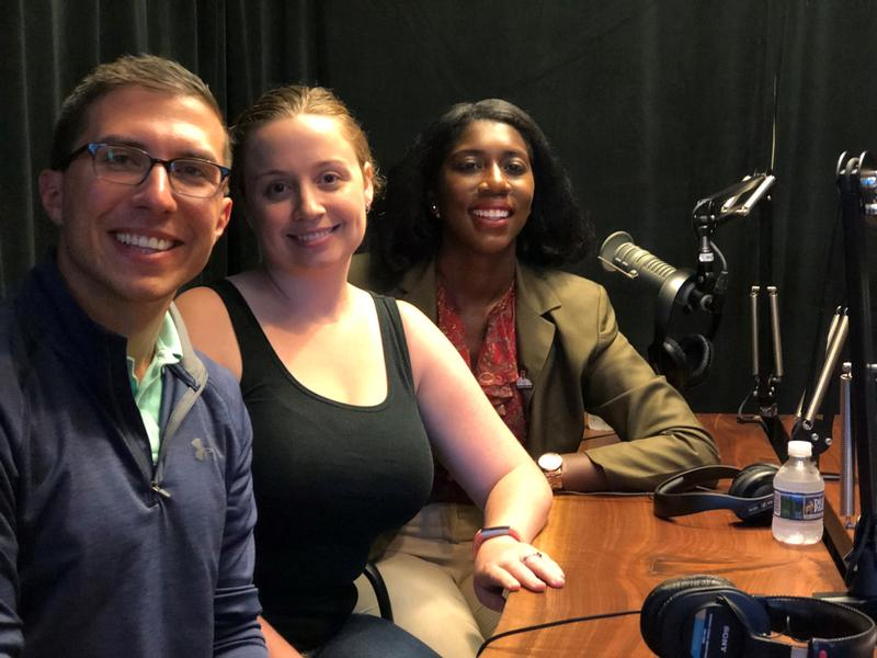 Mayors Matt Rudzki of Sharpsburg (left), Emily Marburger of Bellevue (center) and Marita Garrett of Wilkinsburg (right) pose after a discussion at 90.5 WESA in Pittsburgh's South Side on Tuesday, Oct. 9, 2018.