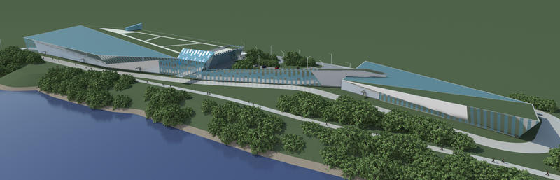 A rendering of the water filtration plant Peoples has proposed building along the Allegheny River in O'Hara Township.