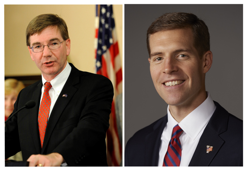 Republican Keith Rothfus (left) trails Democrat Conor Lamb in a poll released Wednesday by Monmouth University in New Jersey.