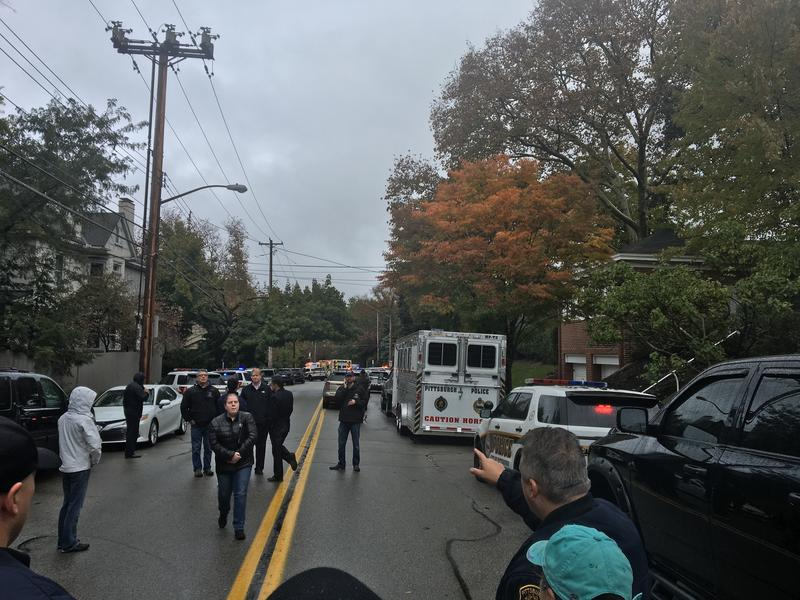Emergency responders at the scene of an active shooting in Squirrel Hill.