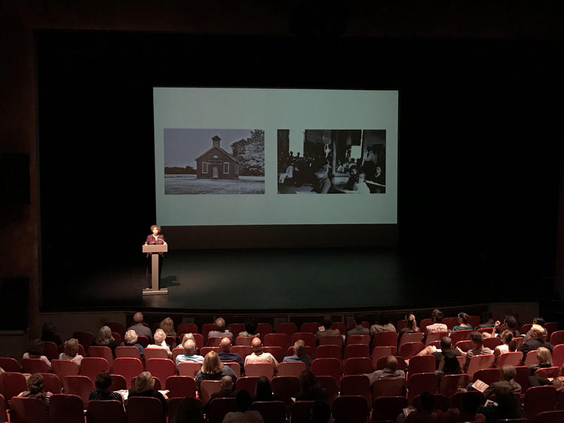 Author Karin Chenoweth addresses a crowd at the Kelly Strayhorn Theater in East Liberty on Wednesday, Oct. 3, 2018.