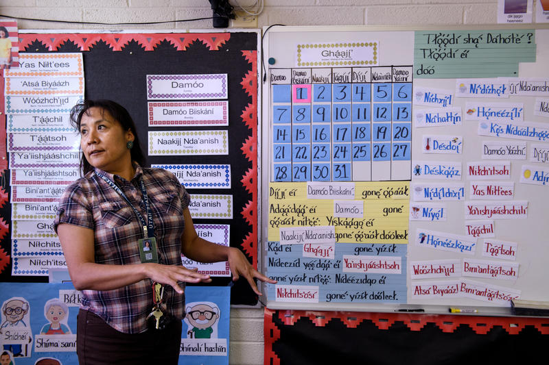 Mable Martin, a teacher at Blanding Elementary School, teaches Navajo to students during a class last month.