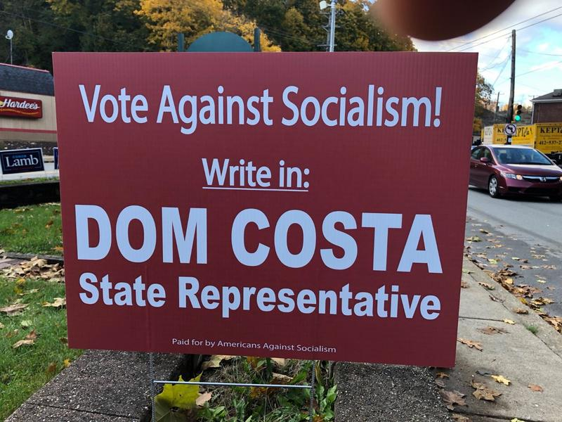 One of the signs backing a write-in effort for Dom Costa