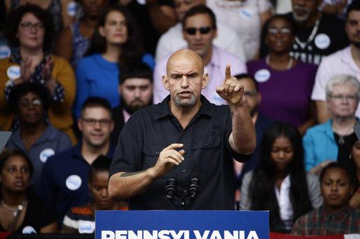 Braddock, Pa. Mayor John Fetterman speaks at a campaign rally for Pennsylvania candidates in Philadelphia, Friday, Sept. 21, 2018.
