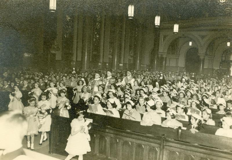 Hundreds attend services at St. Mary Church in Sharpsburg, Pa., in 1955.