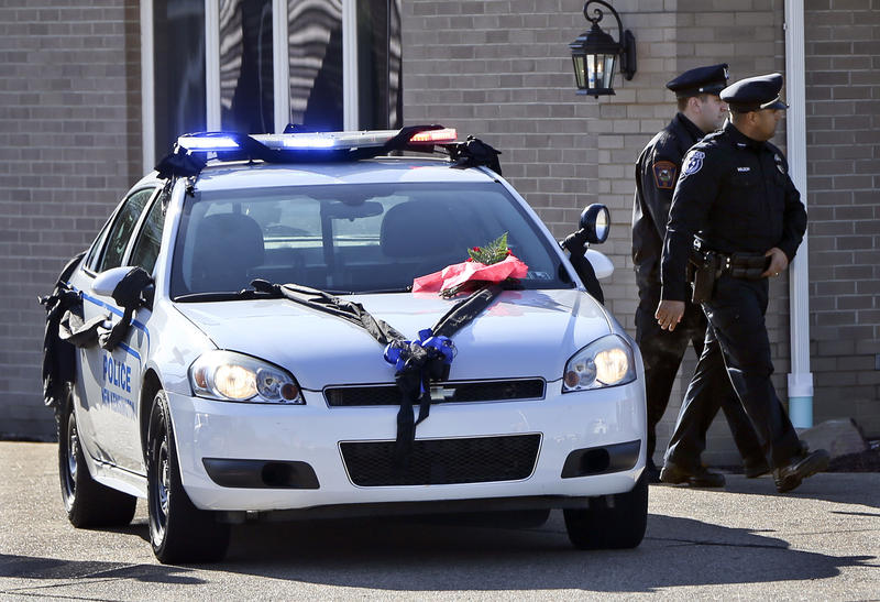 Officers attend the funeral of slain New Kensington Police Officer Brian Shaw in November 2017.