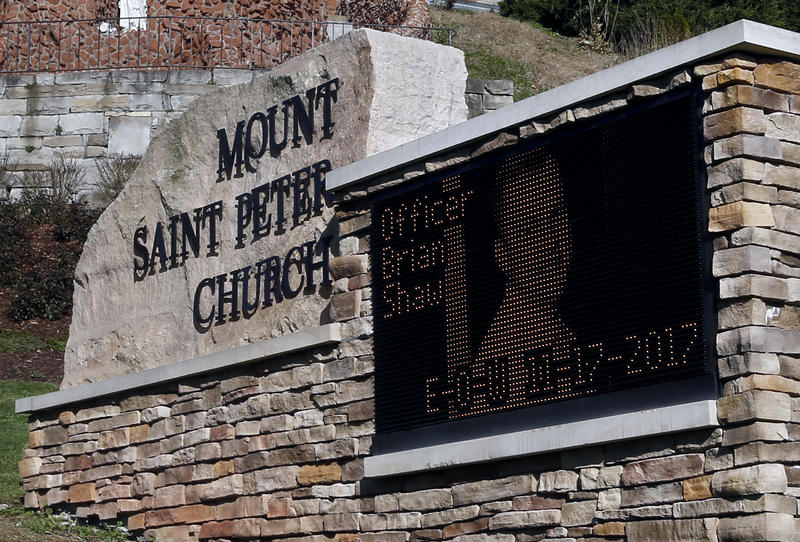 The electronic sign for Mount Saint Peter Church displays an image of New Kensington Police Officer Brian Shaw on Monday, Nov. 20, 2017. The funeral for Shaw, who was shot and killed during a traffic stop Friday, will be held at the church on Wednesday.