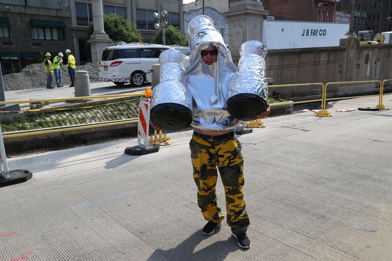 Zack Brickner traveled from Virginia and braved the heat in his metallic Stanley Cup ensemble for the Penguins' victory parade.