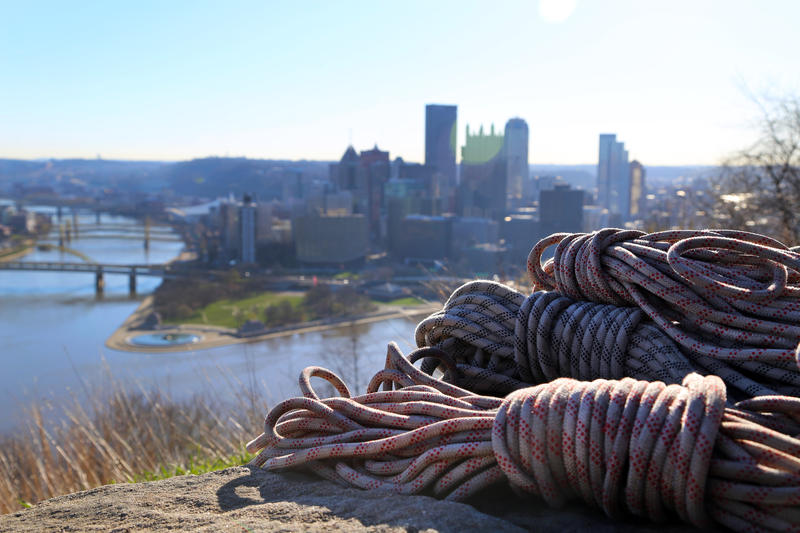 Ropes lay in Emerald View Park along Grandview Avenue for a rappelling, hillside clean-up crew on Saturday, April 8, 2017.