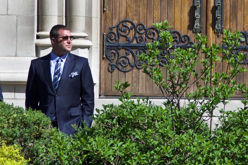 Steelers quarterback Ben Roethlisberger stands outside St. Paul's Cathedral in Oakland prior to the funeral of Dan Rooney on Tuesday, April 18, 2017.
