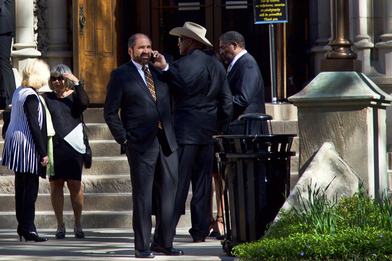 Steelers legends Franco Harris, Mel Blount and Joe Greene convene on the steps of St. Paul's Cathedral in Oakland prior to the funeral of Dan Rooney on Tuesday, April 18, 2017.