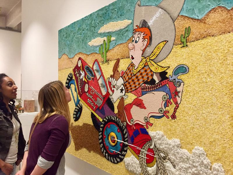 Farhad Moshiri's solo exhibition at the Andy Warhol Museum blends popular culture imagery with traditional Iranian handicraft techniques.