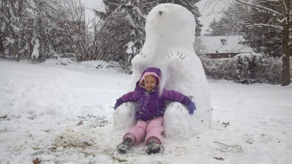 The wet snow associated with winter storm Saturn made for great snowmen.