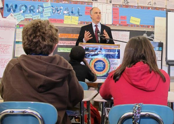 Senator Bob Casey talks to a sixth grade class at Pittsburgh Mifflin preK-8 School about efforts to stop and prevent bullying in schools across the country.