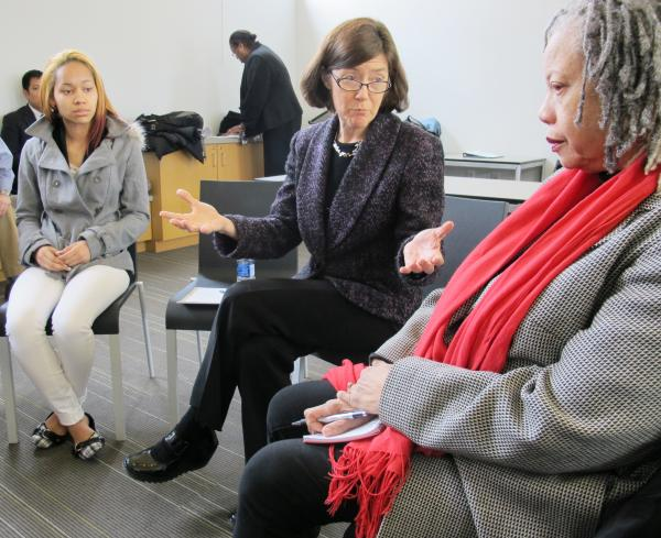Acting Deputy Administrator for the US Department of Labor's Wage and Hour division Mary Beth Maxwell (center), hearing the stories of Nikki Edmonds (left) and Sandra Burden (right) during a roundtable discussion. The women work for minimum wage and told her raising the wage from $7.25 to $9.00 would be very helpful.