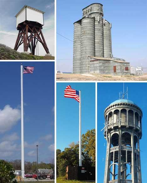 Some examples of cell phone towers hidden within other structures.