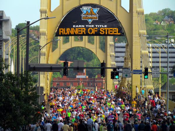 Runners participate in the 2012 Pittsburgh Marathon.