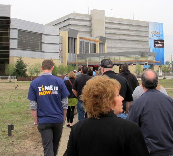 Workers, community leaders and elected officials march to Rivers Casino, calling on the casino management to allow employees the ability to organize.