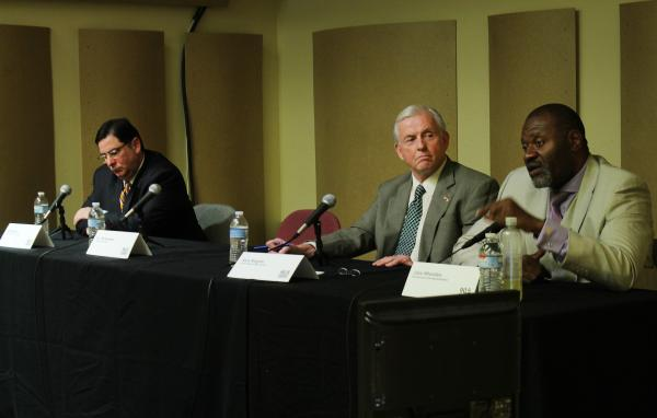 Pittsburgh mayoral candidates Bill Peduto, Jack Wagner and Jake Wheatley (left to right) participate in a public forum at 90.5 WESA on Tuesday.