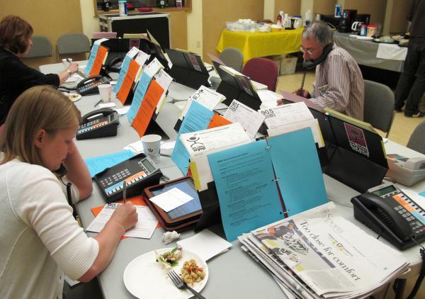 Volunteers work the phones during the 90.5 WESA Spring Member Campaign.