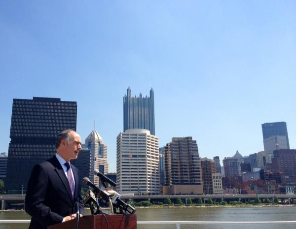 Sen. Bob Casey (D-PA) speaks on the deck of a Gateway Clipper ship in Station Square.