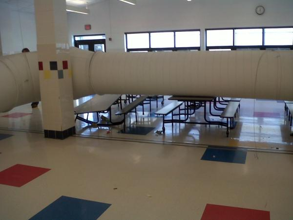 Part of the ductwork that fell on cafeteria tables at Shaler Area Elementary School in April 2012. No criminal negligence found in DA investigation.