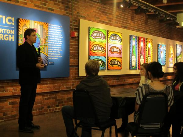 Burton Morris addresses CAPA students at the Heinz History Center