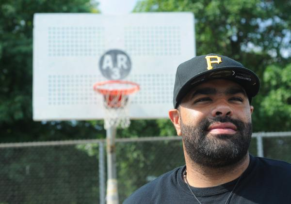 After his 26-year-old brother Anthony was killed in a robbery in 2008, Jason Rivers (pictured) and his family decided to dedicate an East Liberty basketball court in his memory.