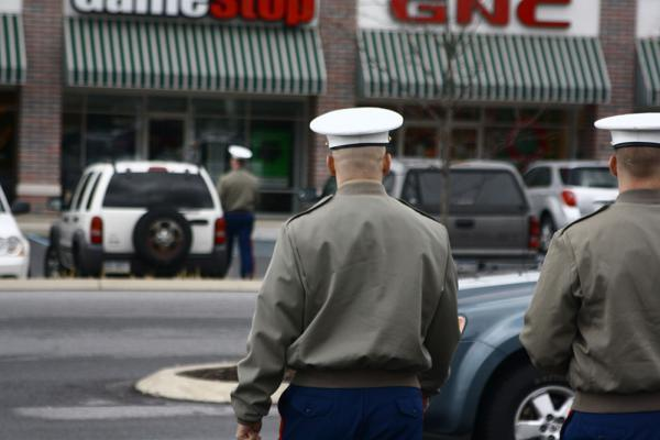 Recruiters for the U.S. Marines canvass shopping plazas, high schools and job fairs for potential soldiers.
