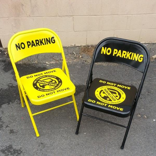 """The """"Official Parking Chair"""" created by Commonwealth Press on the South Side"""
