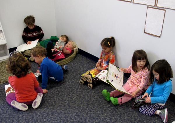 The Jewish Community Center offer pre-K programs. While these kids had reading time, an effort was launched a few doors down to ensure all PA kids have access to quality pre-K programs.