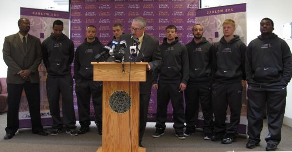 The new Carlow University Celtics team will begin playing in fall 2014. Head coach is Tim Keefer (at lecturn).