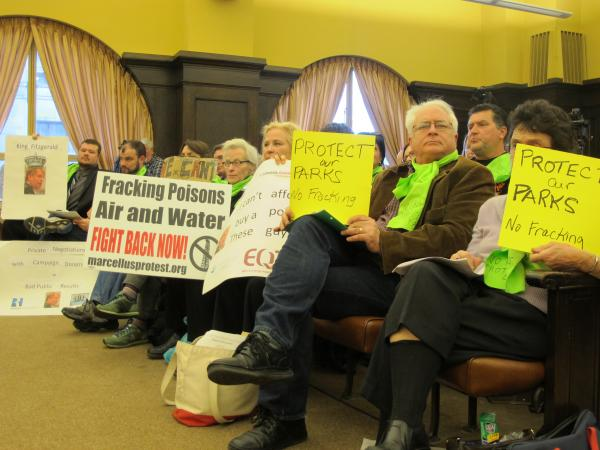 Around two dozen anti-fracking activists attended Tuesday's County Council meeting.