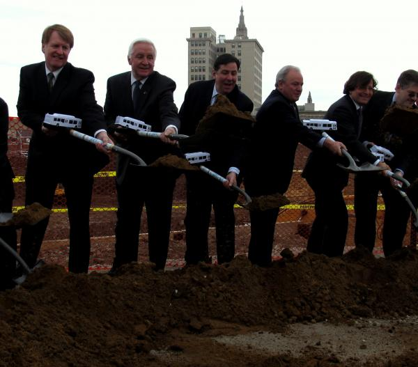 Allegheny County Executive Rich Fitzgerald, Governor Tom Corbett, Pittsburgh Mayor Bill Peduto, Congressman Mike Doyle and Developer Steve Mosites break ground on another phase of the construction of the East Liberty Transit Center.