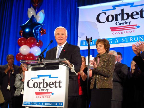 Pennsylvania Gov. Tom Corbett speaks to supporters in Pittsburgh Tuesday night.