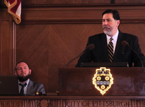 Pittsburgh Mayor Bill Peduto addressed City Council Tuesday morning while his policy manager Matt Barron looks on.