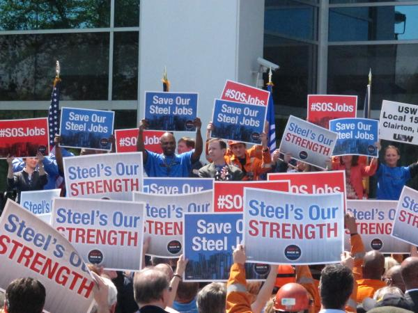 Hundreds of steelworkers rallied Monday against what they say is illegal dumping of South Korean steel pipes into U.S. markets.