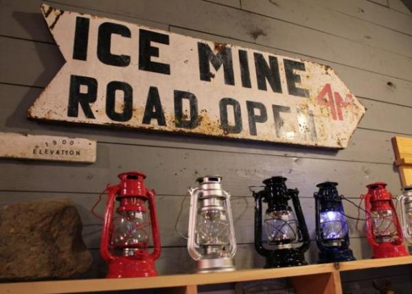 The Buchsens found Ice Mine memorabilia as they restored the site. This vintage sign now hangs in the gift shop. Kara Holsopple