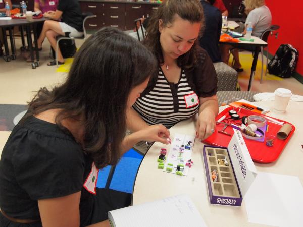 Teachers at the STEAM Innovation Summer Institute at South Fayette School District work with littleBits to bring engineering into their K-4 classrooms