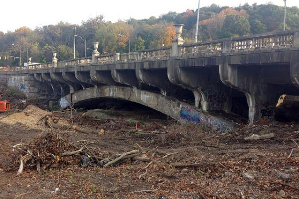 The old Heth's Run Bridge was built in 1914. The land beneath the bridge was long used as an industrial dumping site.