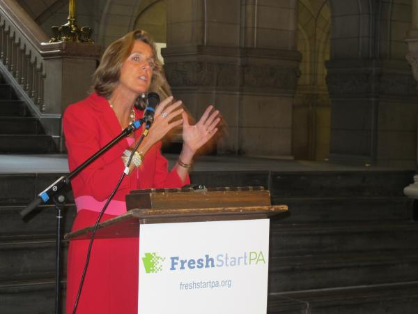 Katie McGinty spoke in the gallery at the Allegheny County Courthouse Wednesday morning. She's heading up Fresh Start PA, a group that's working in tandem with Tom Wolf's campaign for governor.