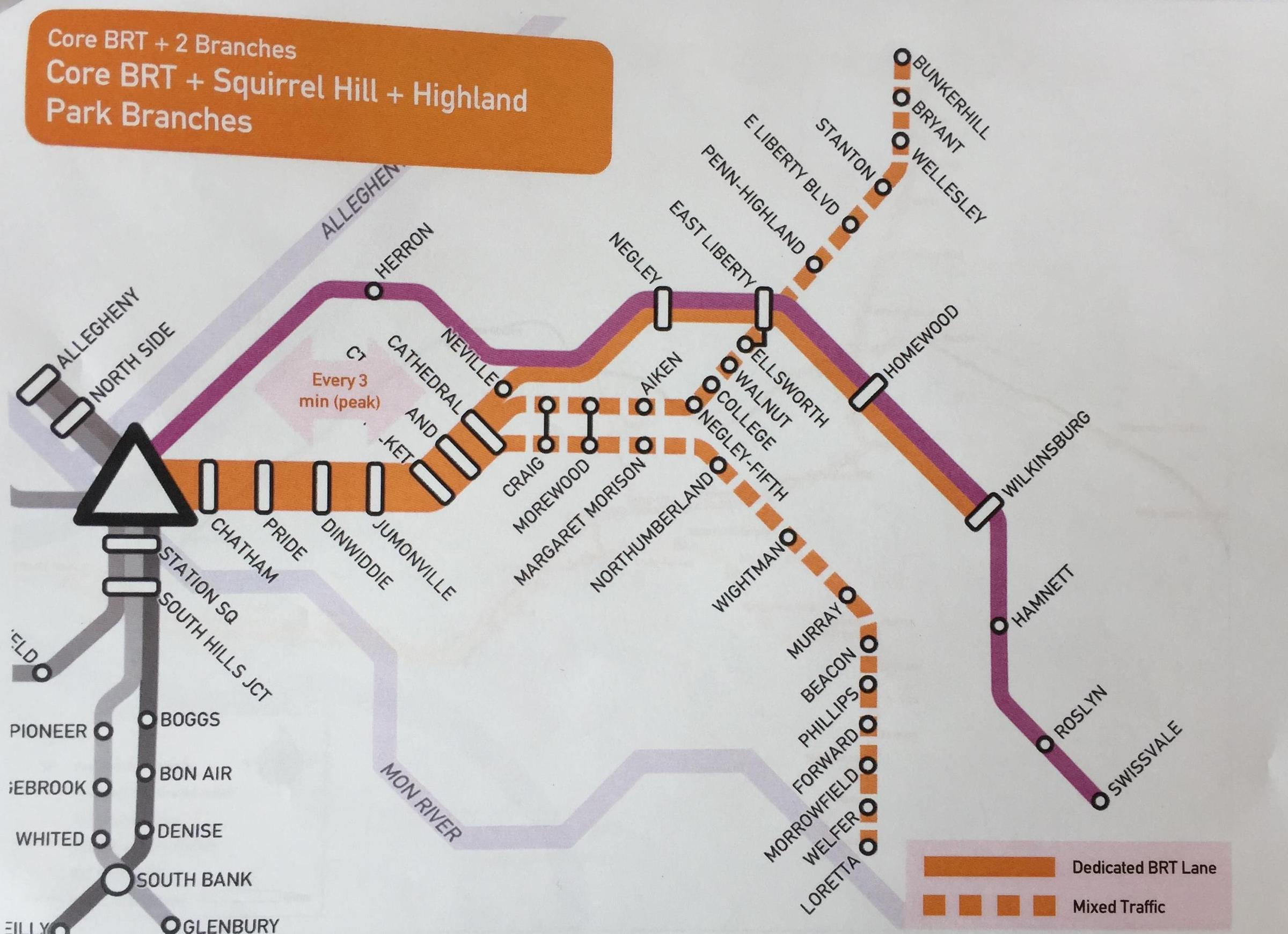 4 rapid transit bus routes proposed through downtown and oakland