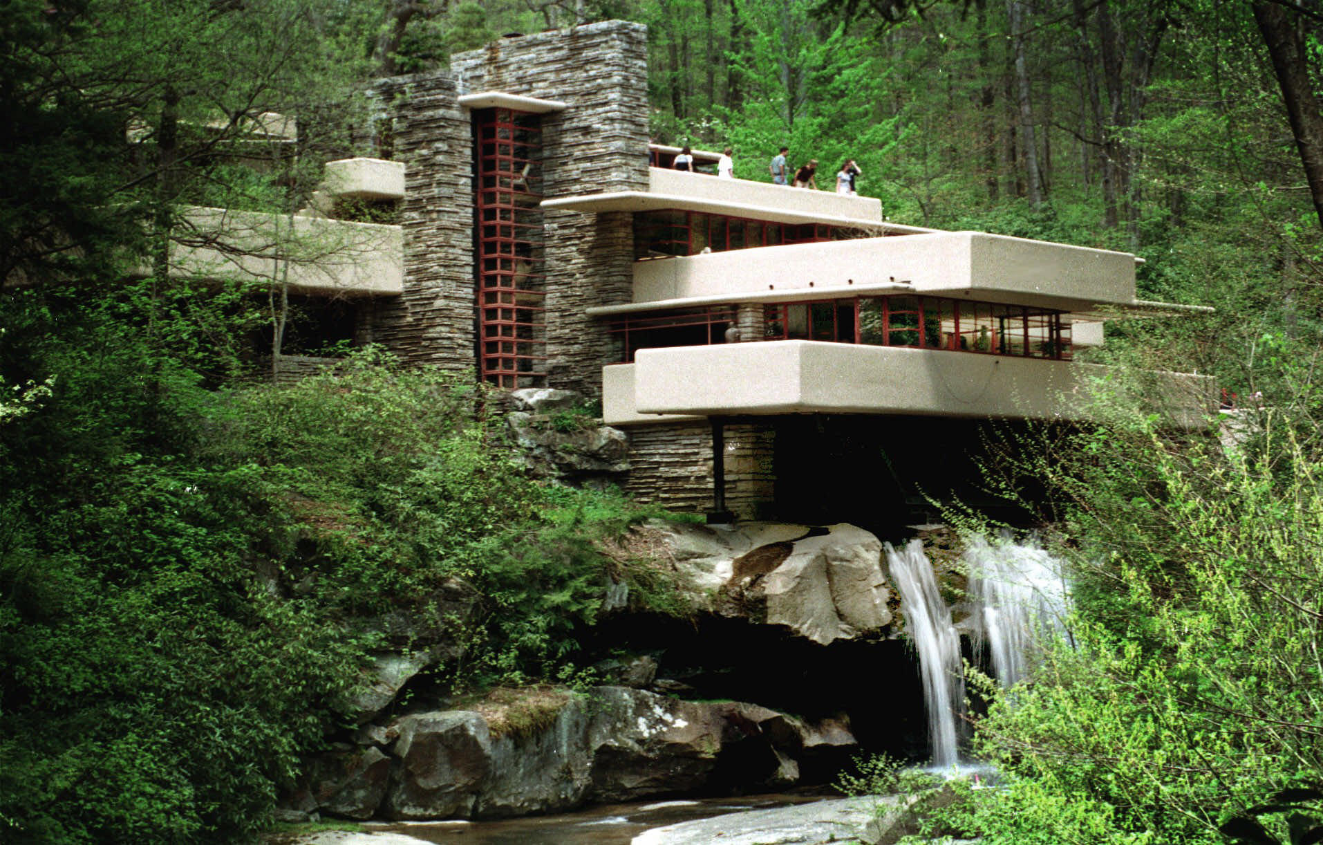 In a may 7 1999 file photo visitors to frank lloyd wrights architectural masterpiece fallingwater tour the home in mill run pa