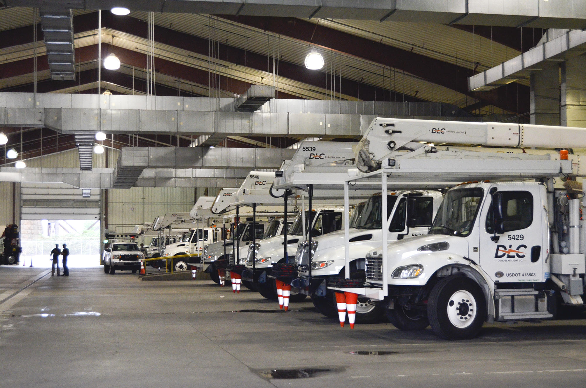 Early In The Morning, Duquesne Light Crews Prepare Their Trucks For The Day  Ahead Installing New Transformers, Poles And Auto Switches To Reroute Power  ...