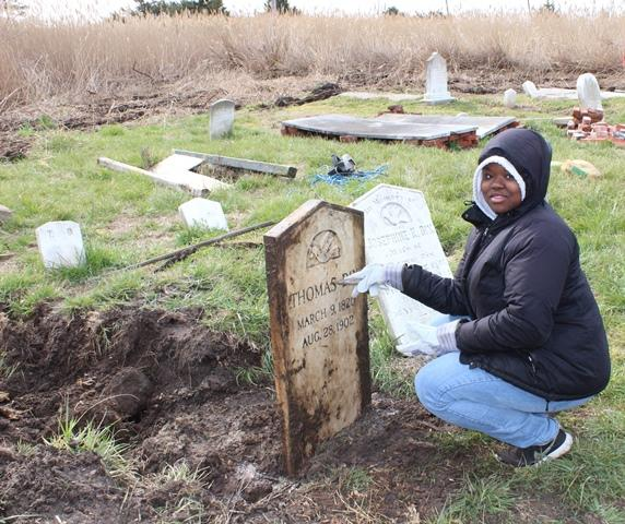 Sophomore Taryn Jones at Crisfield's Nelson Cemetery