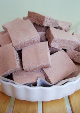 Homemade chocolate marshmallows.
