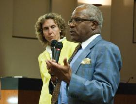 Mecklenburg County Manager Harry Jones with Commissioner Jennifer Roberts. (File photo 4/11)